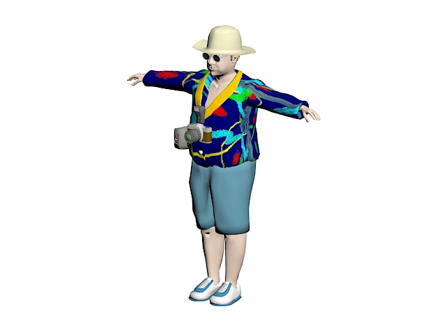 Male tourist 3d rendering