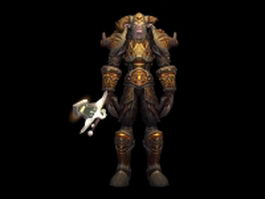 WOW - male night elf warrior 3d model preview