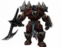 Armed humanoid monster 3d model preview