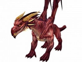 Fiery red dragon 3d model preview