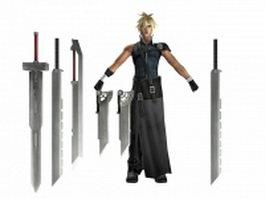 Final fantasy VII - Cloud Strife 3d model preview
