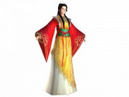 Ancient Chinese female character 3d model preview