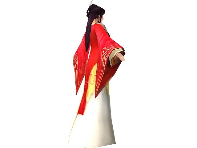 Ancient Chinese female character 3d rendering