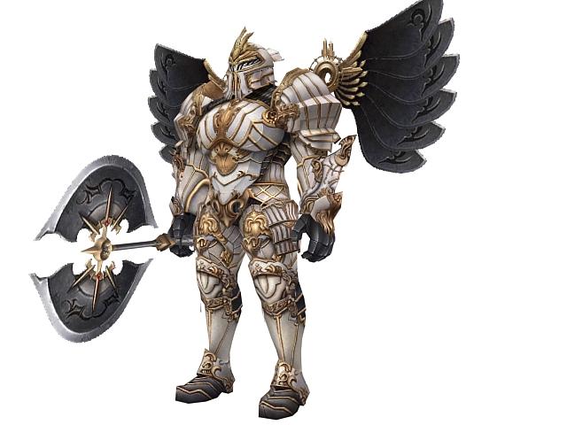 Heavy armored warrior 3d rendering