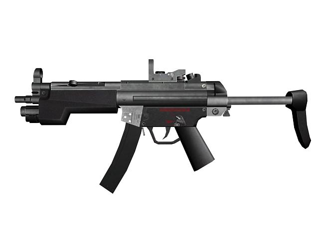 HK MP5 9mm submachine gun 3d rendering