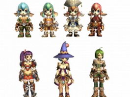 Fantasy anime 7 characters collection 3d model preview