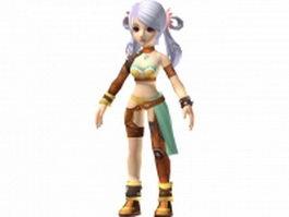 Anime girl warrior 3d model preview