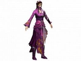 Ancient women swordsman concept 3d model preview