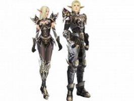 Elf warrior in apella armor set 3d model preview