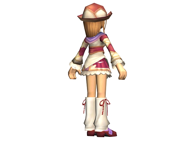 Sweet anime girl concept 3d rendering
