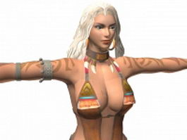 Dynasty warriors 7 - Barbarian female Zhu rong 3d model preview