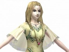 Beautiful fantasy queen 3d model preview