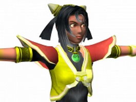 Fantasy girl warrior 3d model preview