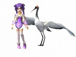 Oriental cartoon girl and crane 3d preview