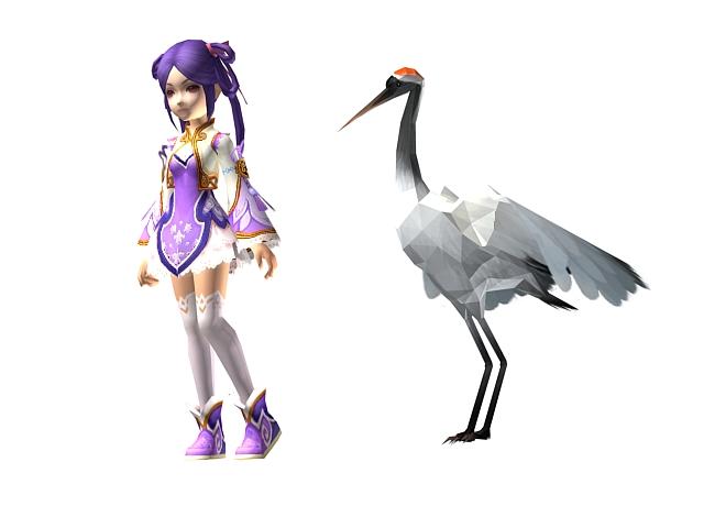Oriental cartoon girl and crane 3d rendering