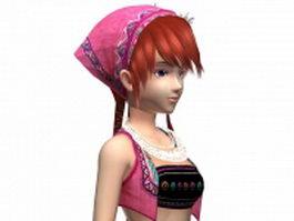 Fantasy Hmong girl 3d model preview