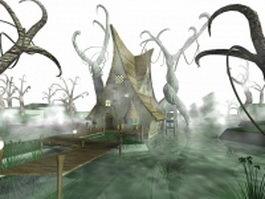 Fantasy pond elven building 3d preview