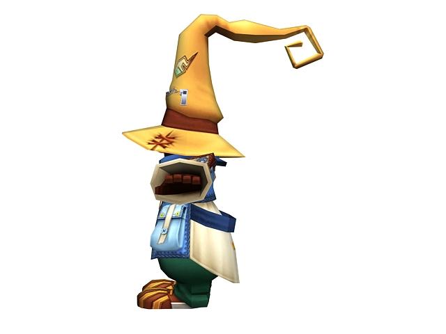 Cute cartoon gremlin wizard 3d rendering