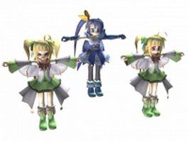 Three anime girls 3d model preview