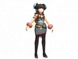Anime gladiator girl 3d model preview