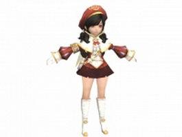 Anime scholar girl 3d model preview