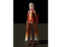 Inori Yuzuriha character render 3d preview