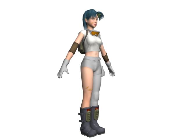 Anime girl Bulma 3d rendering