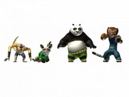 Kung Fu panda characters collection 3d model preview