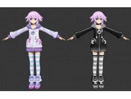 Hyperdimension Neptunia character Neptune 3d model preview