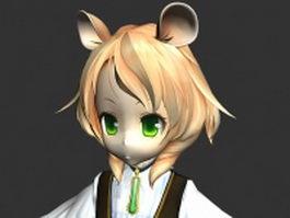 Cute Loli girl 3d model preview