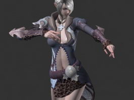 High elf mage woman 3d model preview