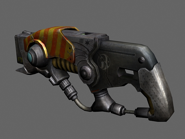 Sci-fi cluster cannon 3d rendering