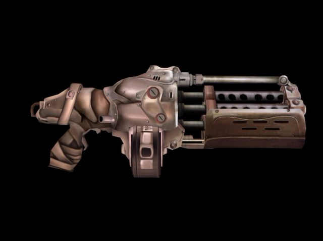 Sci fi minigun concept 3d rendering