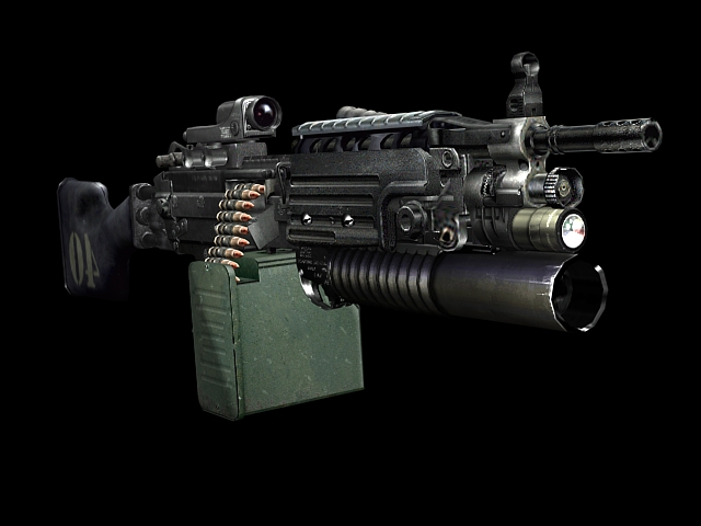 M249 light machine gun 3d rendering