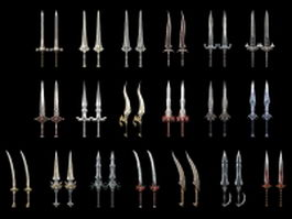 Cool game swords collection 3d model preview
