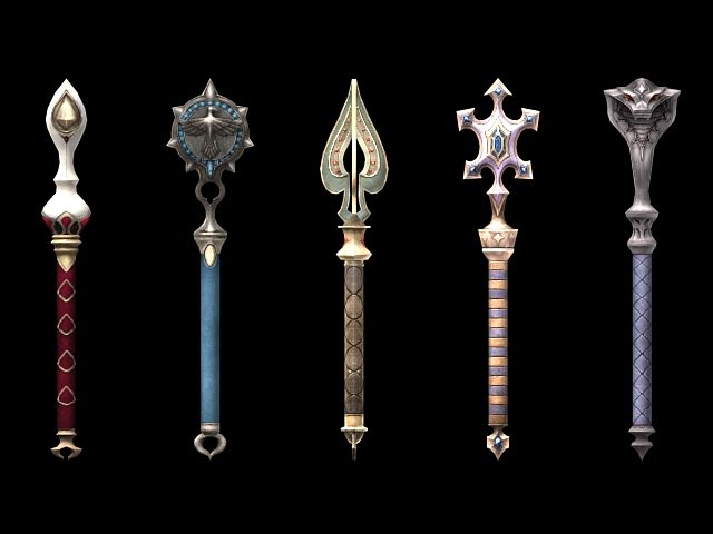 Fantasy scepter weapon collection 3d rendering
