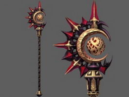 Sun and moon wizard staff 3d model preview