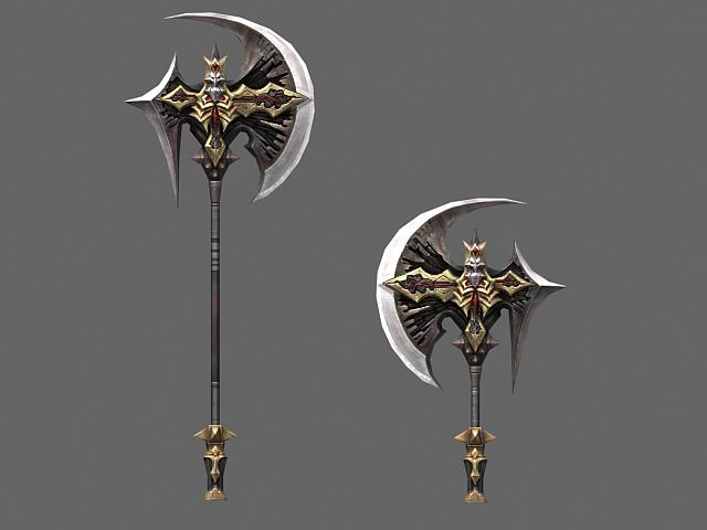 Fantasy axe designs 3d rendering