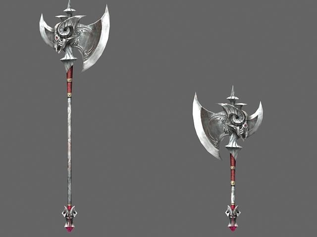 Demon axe 3d rendering