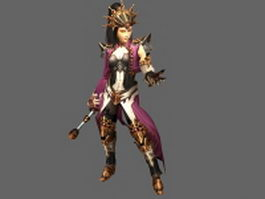 Diablo III character - wizard female 3d model preview