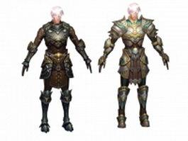 Human warrior man character 3d model preview