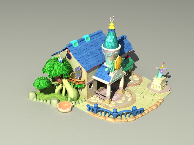 Cartoon house 3d rendering