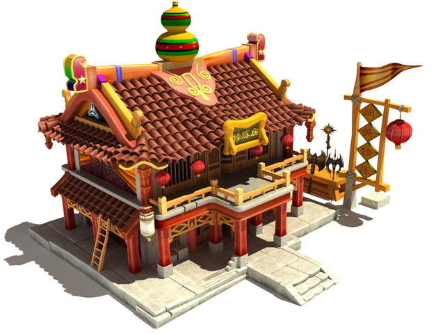 Fantasy ancient Chinese house 3d rendering