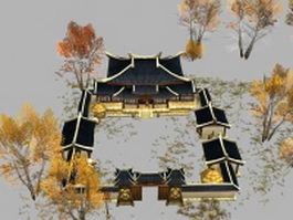 Ancient Chinese post house 3d preview