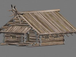 Small old wood house 3d preview