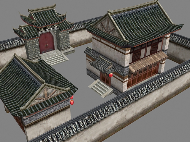 Ancient Chinese courtyard house 3d rendering