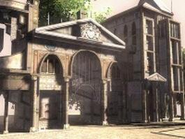 Low poly castle gatehouse 3d preview