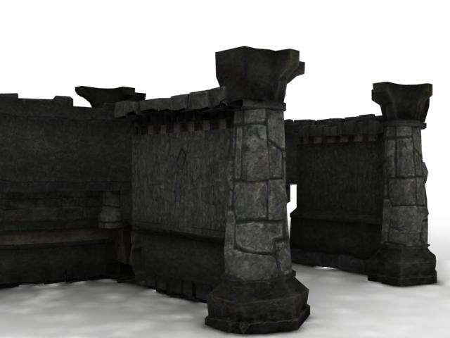 Ancient Rome castle walls 3d rendering