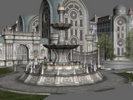 Gothic city building scene 3d preview