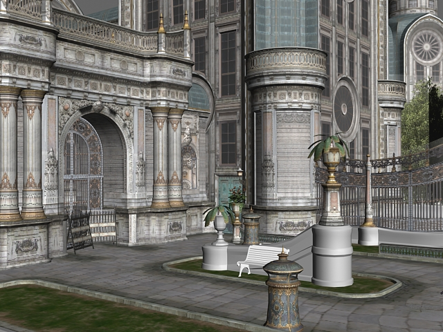 Gothic city building scene 3d rendering